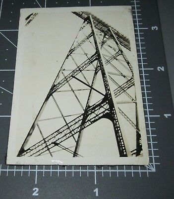 LOOK UP Train STEEL BRIDGE Architectural Lines ABSTRACT 1930's Vintage PHOTO