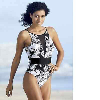 ea9c77d2095 SHEIN STRIPED WAIST mesh panel one piece swimsuit Large NEW - $9.00 ...
