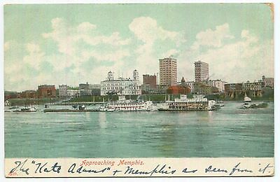 """1907 """"Approaching Memphis"""" on The Kate Adams Steamer Tennessee Postcard"""