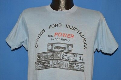 vintage 80s CHADDS FORD ELECTRONICS POWER CAR STEREO RADIO BLUE t-shirt MEDIUM M