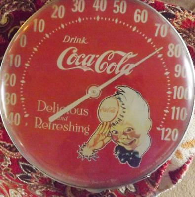 Coca-Cola Sprite Boy Wall Thermometer 1984 Tru Temp Original Jumbo Dial Coke