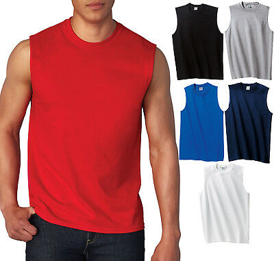 GILDAN MENS TANK TOP Preshrunk Cotton Sleeveless Muscle Tee T-Shirt S,M,L,XL, 2X