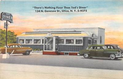 UTICA, ONEIDA COUNTY, NY ~ TED'S DINER, CARS, LINEN ADVERTISING PC ~ c. 1940's
