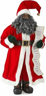 "NEW Santa Clause 3' 36"" Tall African American Christmas Black With List Cheer"