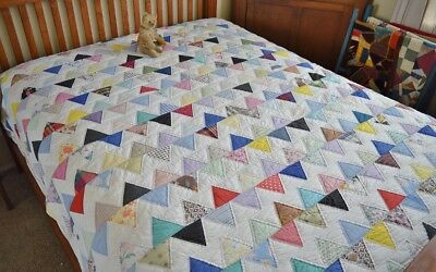 Antique Hand Stitched Fence Row Quilt
