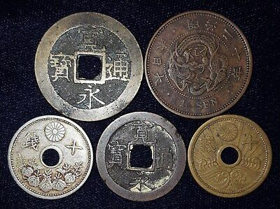 5 Coins from Imperial Japan.   No Reserve!!