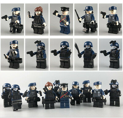 10set  SWAT POLICE  Military Mini figures Weapons Army SS Soldier  Fit Lego Toys