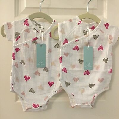 2 NEW Aden And Anais 0-3 Months Girls TWIN Set Hearts Kimono Crossover bodysuit