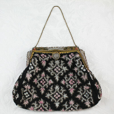 Vintage Beaded Black, Pink, White and Gray Purse with Cloisonné Enameled Frame