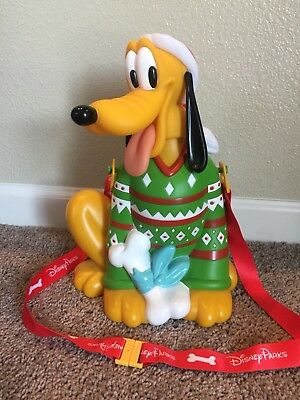 Disneyland Holiday Souvenir Popcorn Bucket Pluto in Santa Hat Christmas Sweater