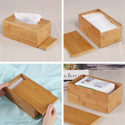 Large Home Room Car Hotel Tissue Box Wooden Box Paper Napkin Holder Case JO