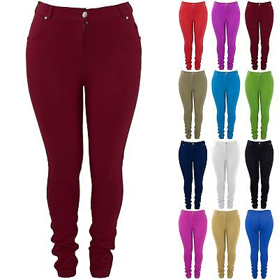 Plus Size Ladies Womens Stretchy Skinny Fit Plain Denim Jeans Jeggings Leggings