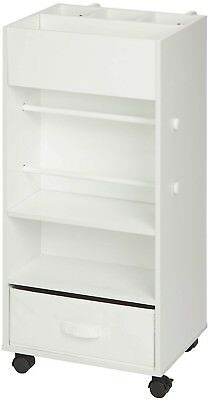 White Rolling Storage Cart Fabric Drawer, Durable Portable Home Indoor Storage