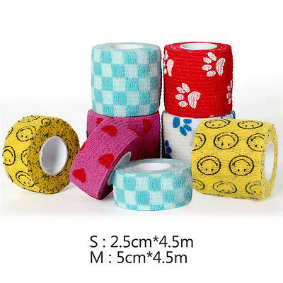 4.5M Pet Dog Cat Vet Non Woven Wound Cohesive Bandage Self Adherent Wrap Tape UK