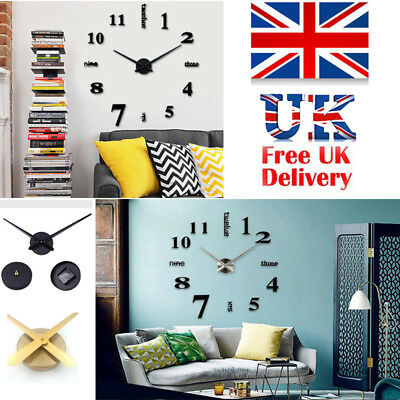 Novel Stick On Wall Clock DIY Large Modern Design Decal 3D Stickers Home Decors
