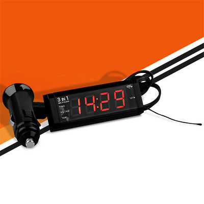 3-in1 Car Digital Clock With Temperature Thermometer and Voltage Meter Voltmeter