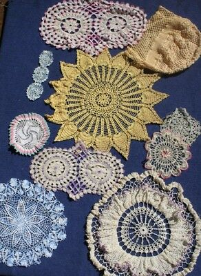 VINTAGE  Selection of DOILIES  7 Items Bridal, Craft, Bunting, Crochet handwork