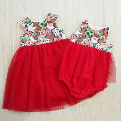 AU Canis Newborn Kids Baby Girls XMAS Tulle Little Big Sister Romper Party Dress