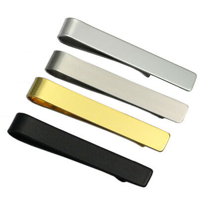 Mens Tie Bar Clip Stainless Steel Skinny Boys Plain Solid Clasp Pins Silver