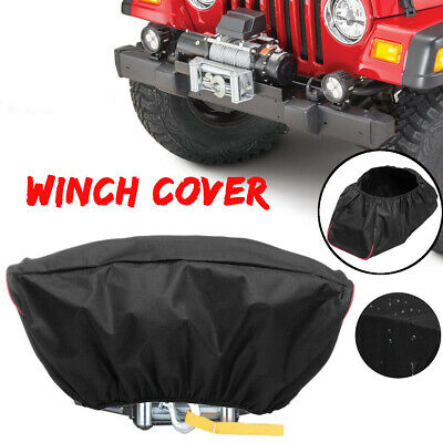 Black 420D Oxford Textile Winch Dust Cover Soft Waterproof 5000-13000LB Capacity