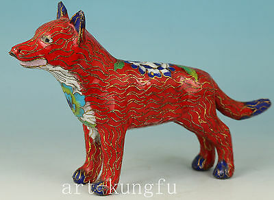 100% Good Chinese Cloisonne Handmade Carved Red Dog Statue home Decoration