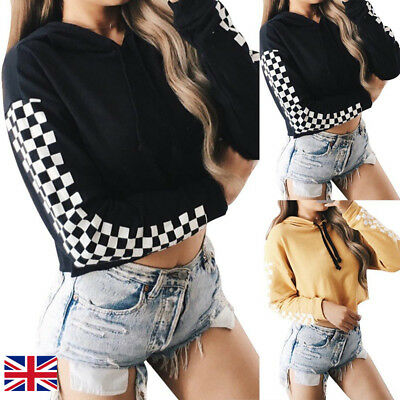 Womens Girls Casual Crop Tops Pullover Hooded Sweatshirt Jumper Hoodie Sportwear