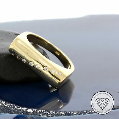 Wert 1.250,- Edler 585 / 14 Karat Gelb Gold Ca. 0,10 Ct Diamanten Designer Ring