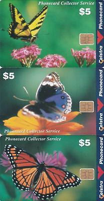 Telstra $5 X 3 Butterflys In Excellent Condition Mint  H70