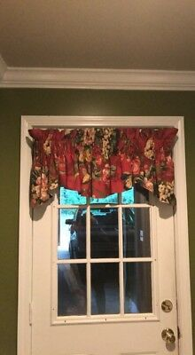 "lined valance Queensland Crimson Floral  75"" across"
