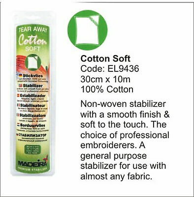 Madeira Cotton Soft Tear-Away Embroidery Stabilizer, 30cm x 10m Roll WHITE