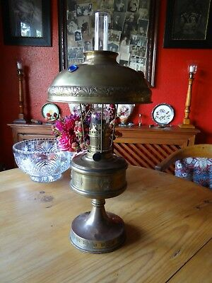 Beautiful Antique French Oil Lamp With Glass Facet Inserted Shade