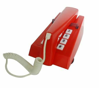 New Steepletone Retro Vintage Style Push Button Trim Phone Corded Telephone, Red