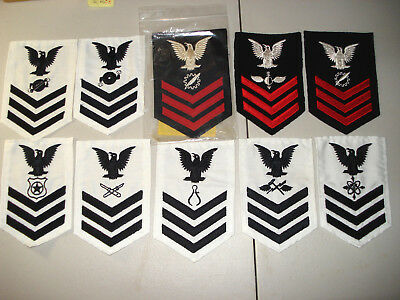 HUGE DEALER LOT OF 21 1948 TO 1980's USN NAVY BLUE & WHITE RATE RATING PATCHES