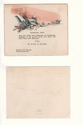 Christmas Greetings 1934, Money Hill House Rickmansworth / England (Watford)