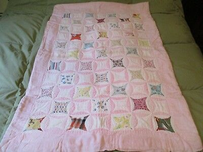 """Beautiful Vintage Handmade Cotton Baby Quilt - 32"""" x 45"""" - Cathedral Window"""