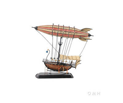 "Steampunk Airship 3D Model Blimp Metal Hot Air Balloon 14"" Zeppelin Aviation Art"