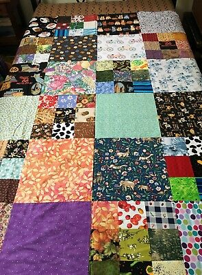 Quilt Top -- Big Blocks, Bright Colors, Brown Border