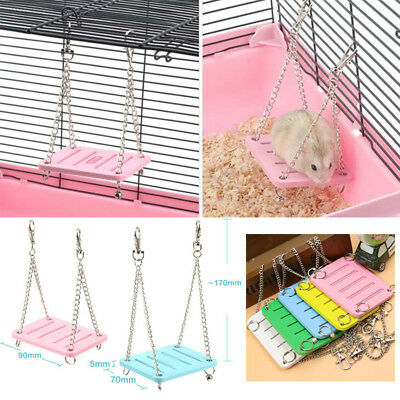 2B6E Colorful Wooden Plaything Supplies Bird Swing Cage Accessories Mouse