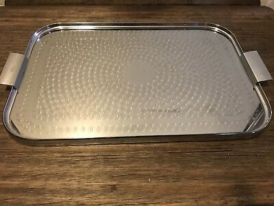 Art Deco 1950 serving tray, tea tray stainless steel rectangle Flat Handles