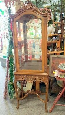 French style Carved Cabinet Vitrine Ornate Curio ca. 1950s 60s