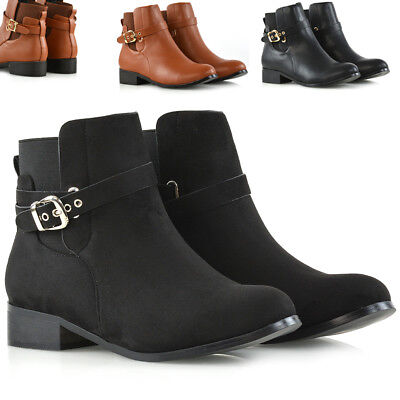 Womens Chelsea Boots Elastic Flat Ladies Buckle Casual Stretch Ankle Booties 3-8