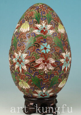 big valuable Chinese Old Cloisonne Hand Carved Egg Statue  Ornaments collectable