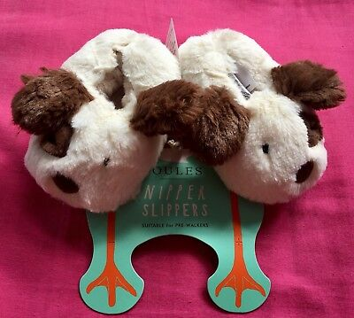 Joules Nipper Slippers Fluffy Dog Puppy Baby Size 0-6 Months BNWT NEW STUNNING!!