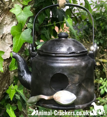 Novelty battered OLD KETTLE bird house nest box, easy clean, with rope hanger