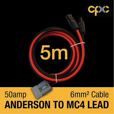 5m 50AMP ANDERSON PLUG style cable to MC4 Connector Battery 4x4 Solar Camping