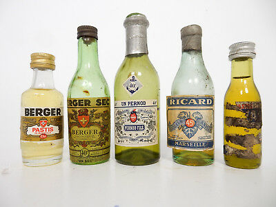 lot 5 old anciennes miniatures pastis anisette Berger Pernod Ricard Duval
