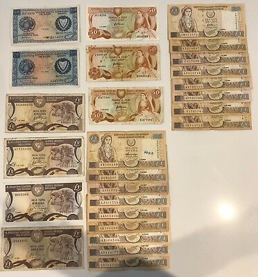 26 X Mixed Banknote Collection - CYPRUS. (2100)