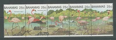Bahamas, Postage Stamp, #509 Strip Mint NH, 1982 Flamingo Bird, JFZ