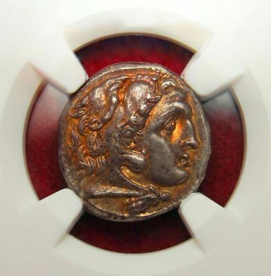 NGC CH AU 5/5 FINE STYLE. Spectacular Gold iridescent Alexander the Great Drachm