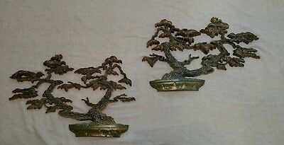 Vintage Rare Pair Of Sexton Cast Aluminum Bonsai Tree Wall Hanging